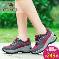 骆驼户外女鞋真皮耐磨登山鞋徒步鞋女增高厚底坡跟运动鞋休闲鞋