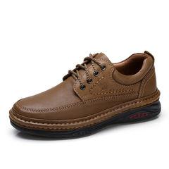 骆驼男鞋 秋季防滑复古牛皮休闲舒适爸爸鞋男士手工缝合休闲皮鞋