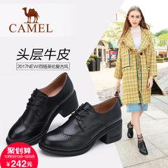 【2017新品】骆驼女鞋英伦复古女皮鞋秋季百搭布洛克学院粗跟单鞋