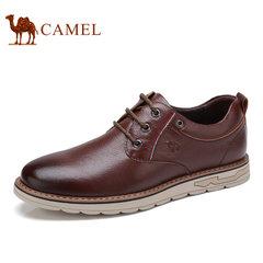 Camel/骆驼男鞋2017早秋新款休闲皮鞋真皮系带舒适休闲鞋子男皮鞋