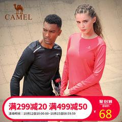 CAMEL/駱駝情侶款運動T恤男女跑步訓練健身服速干T圓領長袖男上衣