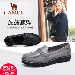 【2017新品】骆驼女鞋浅口单鞋女秋季休闲平底鞋舒适皮面女豆豆鞋