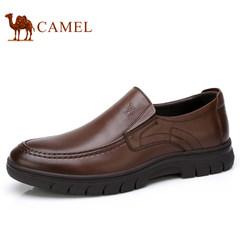 Camel/骆驼男鞋2017秋季新品休闲皮鞋柔软便捷套脚商务休闲皮鞋