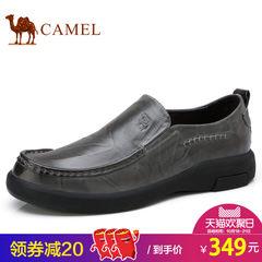 Camel/骆驼真皮套脚皮鞋男士休闲低帮鞋子2017秋季新品舒适橡胶底