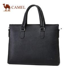 Camel骆驼男包新款男士牛皮手提包商务休闲横款单肩斜挎公文包男