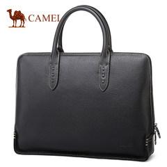 Camel骆驼男包 新款男士牛皮商务手提包横款出差公文包男青年包包