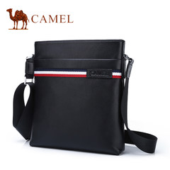 Camel/骆驼男包2017新款休闲男士单肩斜挎包真皮撞色青年竖款背包