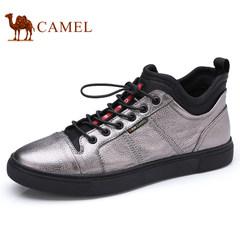 Camel/骆驼男鞋2017秋冬季新品滑板鞋男士潮运动休闲鞋加绒小高帮