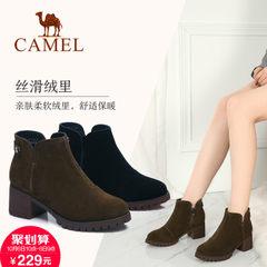 2017新款 骆驼短靴女冬季时尚圆头高跟女靴黑色简约优雅粗跟靴子