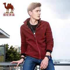 Camel/yabo sports app男士外套2017新款春秋季休闲百搭纯色帅气拉链男夹克薄