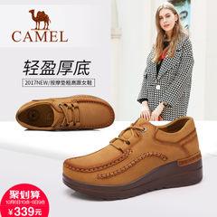 Camel/骆驼女鞋 2017秋季新款 时尚休闲头层磨砂牛皮系带女单鞋