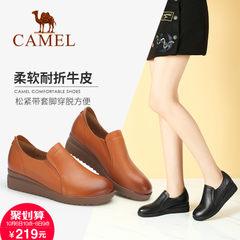 Camel/骆驼女鞋通勤坡跟复古女鞋简约英伦高跟单鞋2017秋冬新品