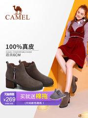 骆驼女鞋2018冬季新款粗跟短靴女绒面英伦马丁靴磨砂皮短筒女靴子