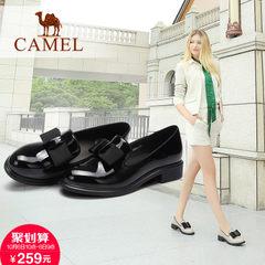 Camel/骆驼女鞋2017秋季新款 真皮浅口单鞋 大气蝴蝶结方跟女鞋