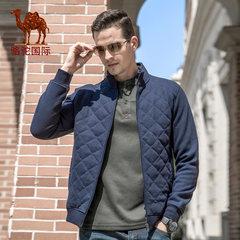 骆驼男装  秋冬季时尚男士开衫纯色棉质加绒保暖立领男款外套卫衣