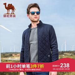 駱駝牌男裝 秋季新款立領無彈休閑夾克男青年開衫純色外套