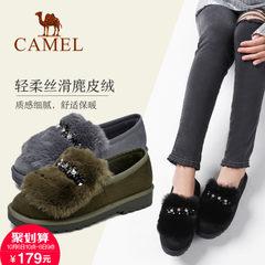 2017新款 骆驼女鞋冬季保暖平底鞋女浅口防滑雪地靴绒面低帮靴子