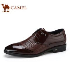 Camel/骆驼男鞋2017秋季新品时尚舒适按摩垫脚系带商务正装皮鞋