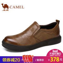 Camel/骆驼男鞋套脚皮鞋男士软皮真皮鞋2017秋季新品休闲低帮平底