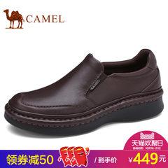 Camel骆驼男鞋套脚皮鞋男士运动皮鞋舒适按摩垫低帮真皮休闲皮鞋