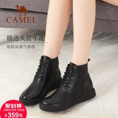2017新款 骆驼女靴秋冬季真皮短靴女平底黑色马丁靴保暖时尚靴子