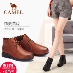 2017新款 骆驼女靴秋冬简约方跟休闲脚踝靴复古英伦风牛皮短靴女