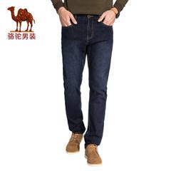 骆驼男装 2017年冬季新款水洗直筒微弹中腰男士青年牛仔裤长裤