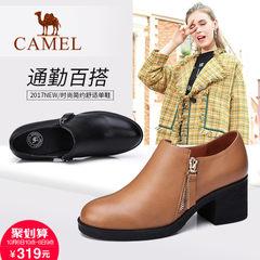 Camel/骆驼女鞋通勤方跟复古女鞋简约英伦高跟单鞋2017秋冬新品