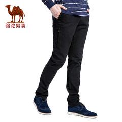 骆驼牌男装 秋冬新款无弹中腰修身小脚男青年纯色休闲裤