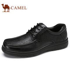 Camel/骆驼男鞋2017秋季新品低帮系带牛皮轻盈商务休闲男士皮鞋