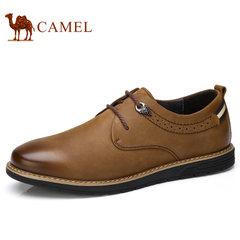Camel/骆驼男鞋秋季复古磨砂牛皮日常休闲系带男皮鞋