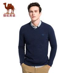 骆驼男装 2017年秋季新款微弹绣标V领男士青年商务休闲长袖T恤