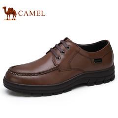 Camel/骆驼男鞋2017秋季新品低帮鞋复古时尚商务休闲牛皮系带皮鞋