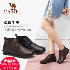 骆驼女鞋复古2017牛皮日常休闲高帮时尚缓震防滑秀气圆头平跟皮鞋