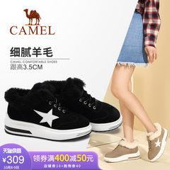 骆驼女鞋 新款 时尚休闲星星磨砂平跟系带加绒厚底高帮鞋