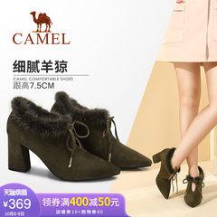 骆驼女鞋新款 优雅貂毛尖头粗跟单鞋女 系带高跟单鞋