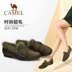 骆驼女鞋 2017冬季新款 舒适低跟方头方跟套脚单鞋时尚保暖毛毛鞋