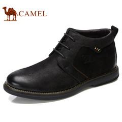 Camel/骆驼男鞋2017秋冬新品加绒保暖日常休闲靴防滑商务中帮皮靴