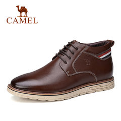 Camel/骆驼男鞋冬季男靴时尚日常休闲高帮轻盈防滑牛皮系带休闲靴