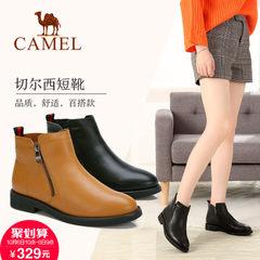 2017新款 骆驼女靴秋季英伦圆头平跟单靴女真皮欧美舒适休闲短靴