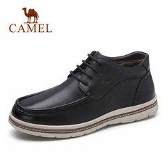骆驼男靴 冬季加绒 保暖日常休闲皮靴 时尚百搭耐磨皮鞋系带男鞋