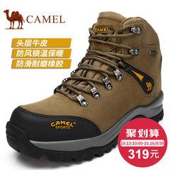 Camel骆驼男鞋 高帮登山鞋男徒步鞋 秋冬头层牛皮防水户外鞋男