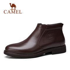 骆驼男靴 秋冬新品商务休闲加绒保暖高帮短靴 拉链牛皮短靴男靴子