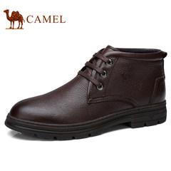 Camel/骆驼男鞋2017秋冬加绒保暖复古缓震休闲皮靴商务摔纹皮鞋