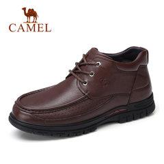Camel/骆驼男鞋冬季加绒保暖柔软商务休闲靴防滑日常休闲皮鞋