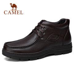骆驼男鞋 冬季时尚加绒保暖复古缓震男士休闲靴 防滑商务皮鞋男靴