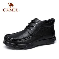 Camel/骆驼男鞋冬季商务休闲鞋牛皮男靴休闲皮鞋男爸爸鞋棉靴男靴