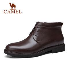 Camel/骆驼冬季男士棉鞋加绒加厚保暖牛皮鞋商务短靴男鞋冬鞋