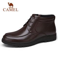 骆驼男鞋 冬季商务休闲短筒 皮靴柔软缓震 商务加绒保暖皮鞋男靴