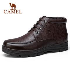骆驼男鞋 冬季短筒加绒保暖 复古系带休闲皮靴 防滑商务皮鞋男靴